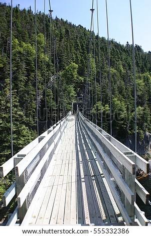 La Manche Suspension Bridge.A suspension bridge crossing a river leads to heavily forested hill #555332386