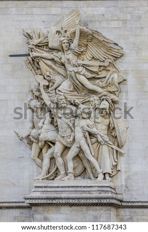 La Marseillaise (Francois Rude) - Sculptural group at the base of Arc de Triomphe de l'Etoile. Arc was built by architect Jean Shalgrenom by order of Napoleon to commemorate victories of his Army.