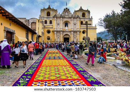 LA MERCED CHURCH ANTIGUA GUATEMALA APRIL 1 2007 Holy Week carpet or alfombra made in the path of a religious procession using wooden stencils and dyed sawdust