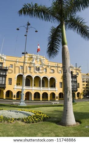 la municipalidad de lima municipal building city hall on plaza mayor armas lima peru