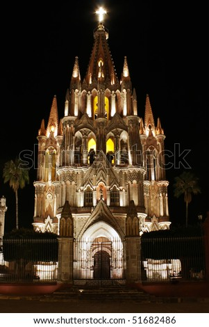 La Parroquia (Church of St. Michael the Archangel) in the historic Mexican city of San Miguel de Allende.