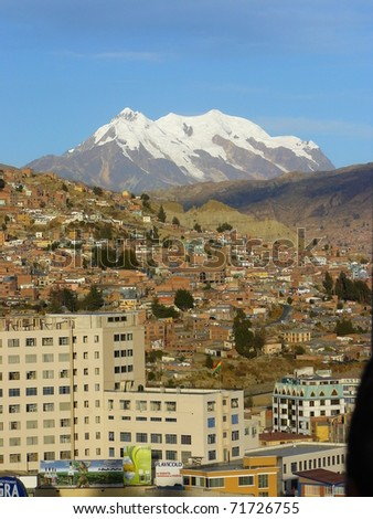 La Paz and Illimani Mountain, Bolivia