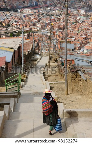 La Paz - the governmental capital of Bolivia. The city's building cling to the sides of the canyon and spill spectaculary downwards. The way to the down town.