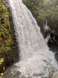 La Paz Waterfall and Gardens, Costa Rica. Five waterfalls that line the trail. The park has the closest waterfalls to San Jose and Poas Volcano. Jungle. Rain forest.
