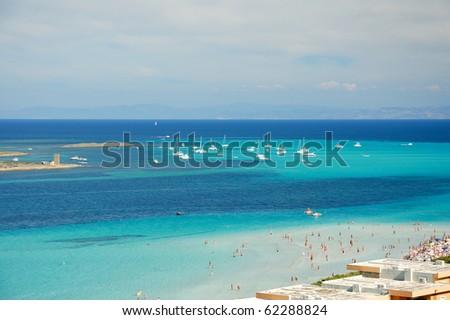 La Pelosa beach - italy - sardinia - stock photo