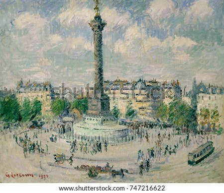 La Place de la Bastille, by Gustave Loiseau, 1922, French Post-Impressionist, oil on canvas. This light filled depiction of Paris is painted with quick brush-strokes that create an intricate, lattice-
