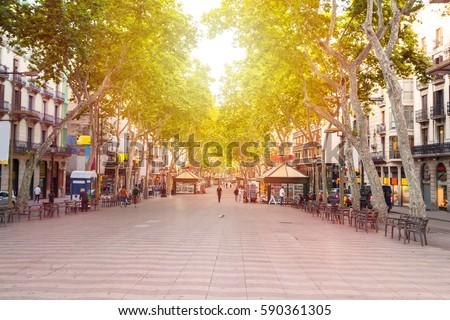 La Rambla street. The most popular street in Barcelona early in the morning. Almost empty. Spain