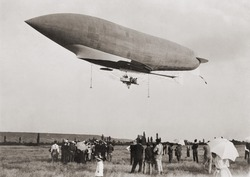 La Republique a semi-rigid airship built for the French army leaving Moisson France in 1907. Built for military observation but crashed in 1909 due to a mechanical failure.