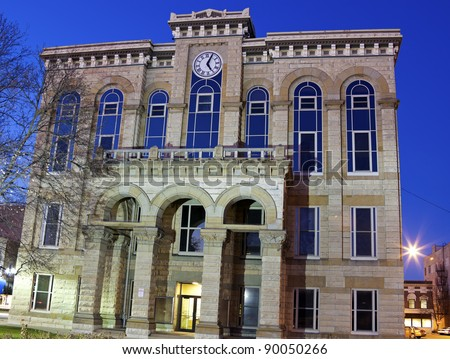 La Salle County Historic Courthouse in Ottawa, Illinois - seen after sunset