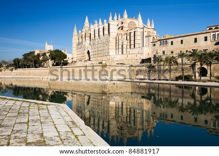 La Seu Cathedral, Palma, Majorca, Balearic Islands, Spain - stock photo