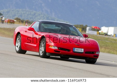 LA SEU D'URGELL, SPAIN - OCTOBER 7: A Chevrolet Corvette of 2003 take part in Road and Track racing weekend organizated by American Car Club, on October 7, 2012, in La Seu d'Urgell, Spain.