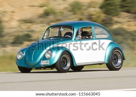 LA SEU D'URGELL, SPAIN - OCTOBER 7: A Wolkswagen Beetle take part in Road and Track racing weekend organized by American Car Club, on October 7, 2012, in La Seu d'Urgell, Spain.