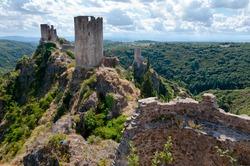 La Tour Regine Surdespine and Quertinheux towers at Lastours in France