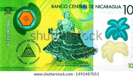 La Vaquita dancer. Managua Patron Saint Festivities. portrait from Nicaragua 10 Cordobas 2014 Banknotes. Nicaraguan money Closeup Collection. #1492487051
