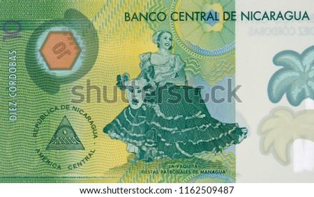 La Vaquita dancer (Patron Saint festivities of Managua) on Nicaragua 10 cordobas (2015) banknote closeup, Nicaraguan money close up