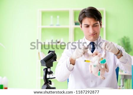 Lab assistant testing GMO chicken #1187292877
