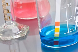 Lab chemistry - color flasks - shallow DOF