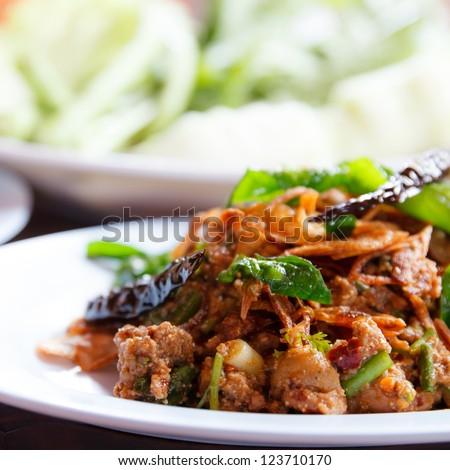 Lab duck mince with spicy taste Thai food