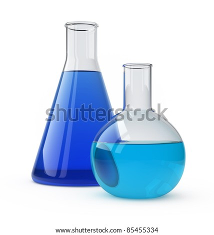 Lab flasks with a blue liquid over white.