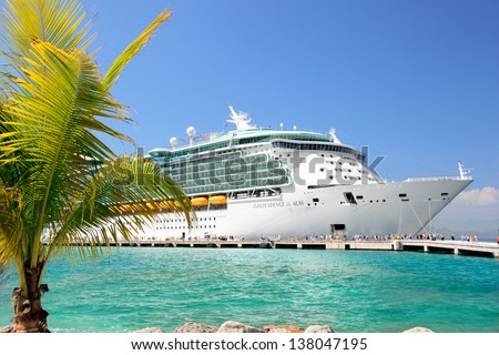 LABADEE, HAITI - FEBRUARY 26, 2013: Royal Caribbean cruise ship Independence of the Seas docked at the private port of Labadee in the Caribbean Island of Haiti on February 26, 2013.