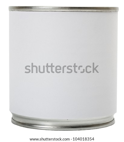 Label blank in Tin can isolated on white background