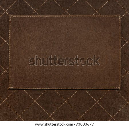 Label on leather background