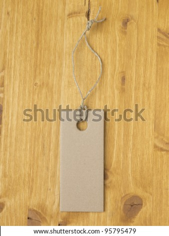 Label on wood background