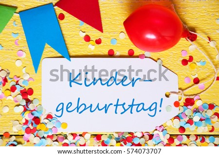 label red balloon kindergeburtstag means children birthday party 574073707