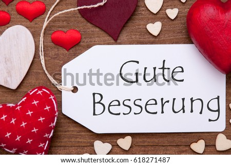 Label, Red Hearts, Flat Lay, Gute Besserung Means Get Well #618271487