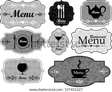 Label set for restaurant and cafe.  Illustration