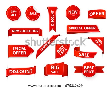 Label tags. Realistic price ribbon tag, red market flags, retail and marketing best offer labels and stickers. Shopping sales sticker template  illustration set. Corner sale new product elements