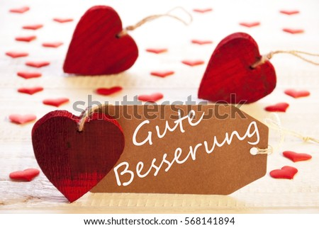Label With Many Red Heart, Gute Besserung Means Get Well #568141894