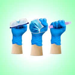 Labor Day, hand fist wear medical gloves hold on protection glass and hand sanitizer, Medical Team Doctor Group Labor Day, Doctor Labor Day, Doctor May day, Medical Hero,1 May Holiday, Corona