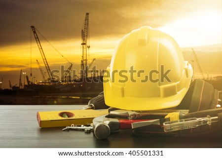 Labor day tools and equipment for work in construction site place.