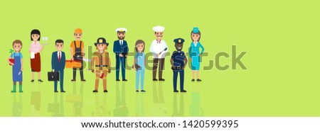 Labor day web banner with people professions. different occupations cartoon characters in uniform and implements flat raster. workforce diversity illustration for holiday festival landing page