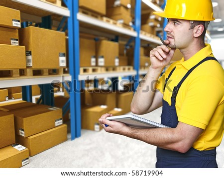 labor work and check parcel in warehouse