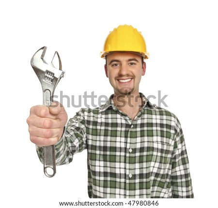 labor young caucasian  portrait isolated on white