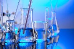 Laboratory beakers composition. Science concept.