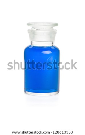 Laboratory bottle filled with blue liquid