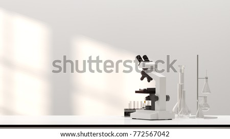 laboratory development research Clean modern white laboratory Horizontal template for a poster laboratory equipment without people