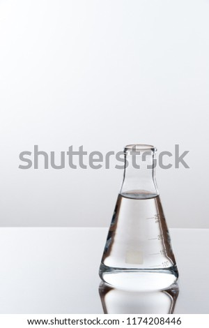 laboratory equipment on a laboratory table on a white background