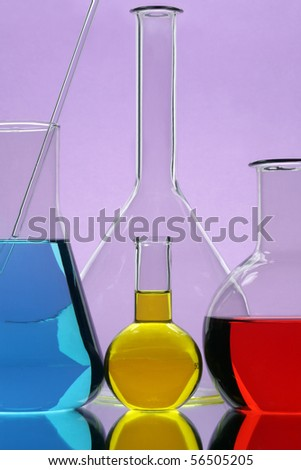 Laboratory equipment with color liquid