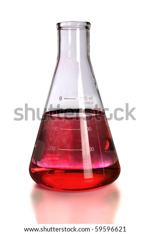 Laboratory flask with red colorant isolated over white - With clipping path
