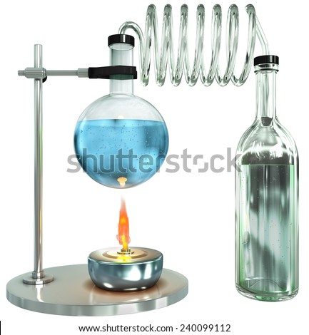 Laboratory glass burner process, 3d render isolated on white