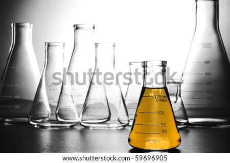 Laboratory glass conical Erlenmeyer flask filled with yellow gasoline gas color liquid for an experiment in a science research lab