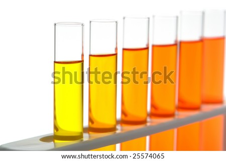 Laboratory glass test tubes filled with yellow and orange liquid on a rack for an experiment in a science research lab