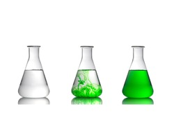 Laboratory glassware and Science concept , collection of Erlenmeyer flasks isolated on white background.