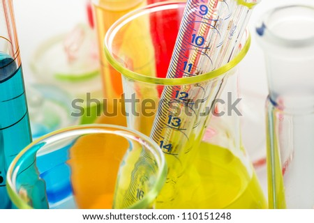 Laboratory glassware close up on white background