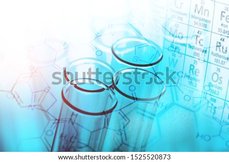 Laboratory glassware containing chemical liquid, science research,science