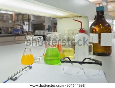Laboratory glassware equipment for experiment in a science research lab st university